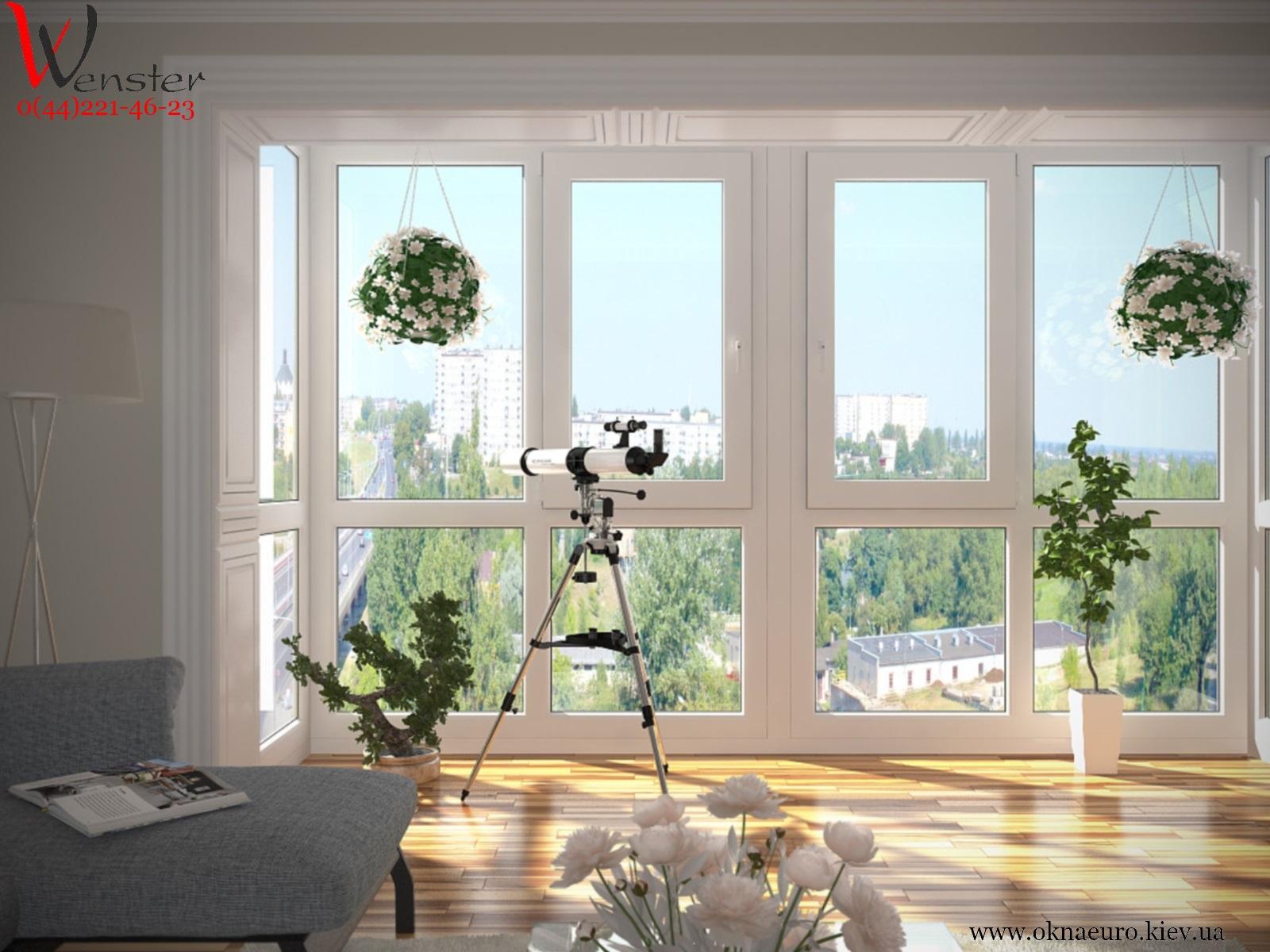 Балконное окно рехау из 4 окон фото.